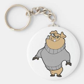 Mascot - Hog Silver/Grey Basic Round Button Keychain