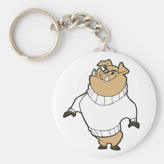 Mascot - Hog White Basic Round Button Keychain