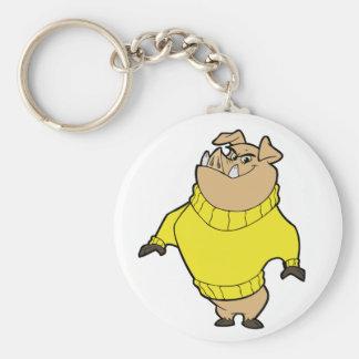 Mascot - Hog Yellow Basic Round Button Keychain