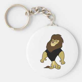 Mascot - Lion Black Basic Round Button Keychain