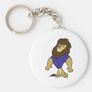 Mascot - Lion Blue Basic Round Button Keychain