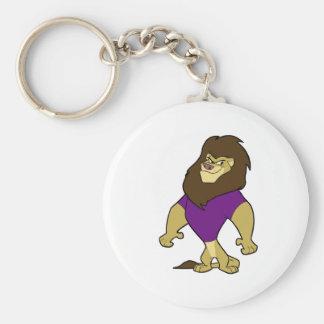 Mascot - Lion Purple Basic Round Button Keychain
