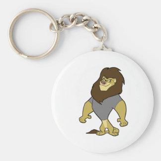 Mascot - Lion Silver/Grey Basic Round Button Keychain