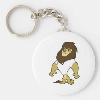 Mascot - Lion White Basic Round Button Keychain