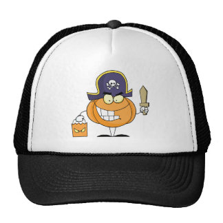 Mascot Pirate Pumpkin Holding A Bag Of Sweets Hat