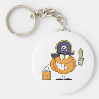Mascot Pirate Pumpkin Holding A Bag Of Sweets Keychain
