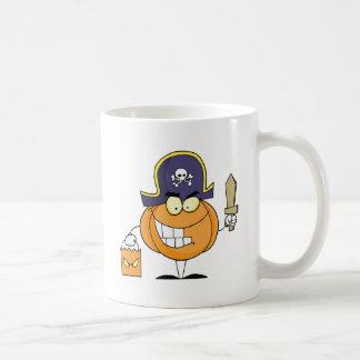 Mascot Pirate Pumpkin Holding A Bag Of Sweets Coffee Mug