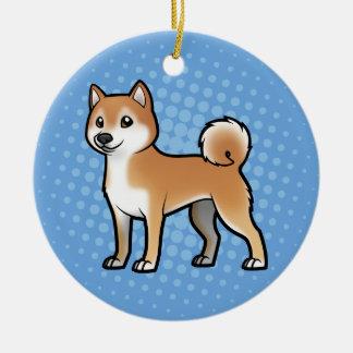 Mascota adaptable adorno navideño redondo de cerámica