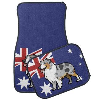 Mascota adaptable lindo en bandera de país alfombrilla de auto