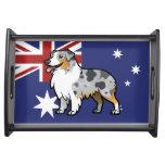 Mascota adaptable lindo en bandera de país bandejas