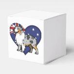 Mascota adaptable lindo en bandera de país cajas para detalles de boda
