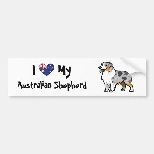 Mascota adaptable lindo en bandera de país etiqueta de parachoque