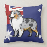 Mascota adaptable lindo en bandera de país almohadas