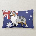 Mascota adaptable lindo en bandera de país almohada
