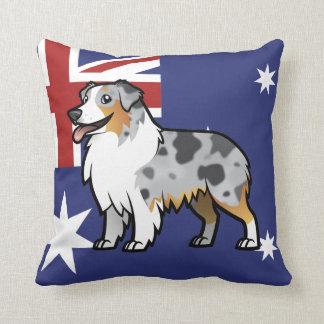 Mascota adaptable lindo en bandera de país cojín