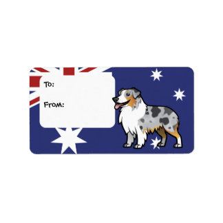 Mascota adaptable lindo en bandera de país etiqueta de dirección