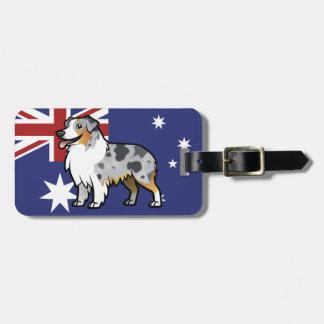 Mascota adaptable lindo en bandera de país etiquetas maleta