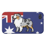 Mascota adaptable lindo en bandera de país iPhone 4 cobertura