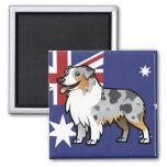 Mascota adaptable lindo en bandera de país imán cuadrado