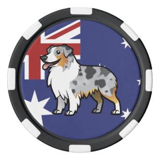 Mascota adaptable lindo en bandera de país juego de fichas de póquer