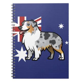 Mascota adaptable lindo en bandera de país libros de apuntes