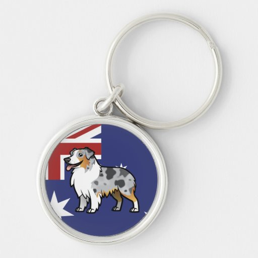 Mascota adaptable lindo en bandera de país llavero redondo plateado