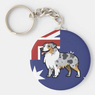 Mascota adaptable lindo en bandera de país llavero redondo tipo pin
