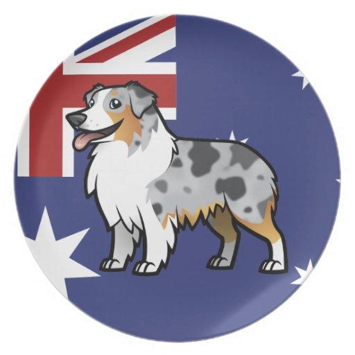 Mascota adaptable lindo en bandera de país plato para fiesta