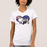 Mascota adaptable lindo en bandera de país camisetas