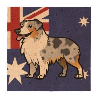 Mascota adaptable lindo en bandera de país posavasos