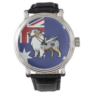 Mascota adaptable lindo en bandera de país relojes de mano