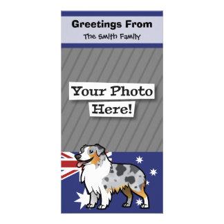 Mascota adaptable lindo en bandera de país tarjetas con fotos personalizadas