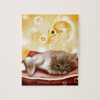 MASCOTA ADORABLE LINDO del GOLDFISH del CAT del Rompecabeza