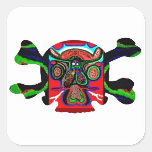 Mascota AFRICANA: Monstruos humanos de los cráneos Pegatina Cuadradas Personalizada