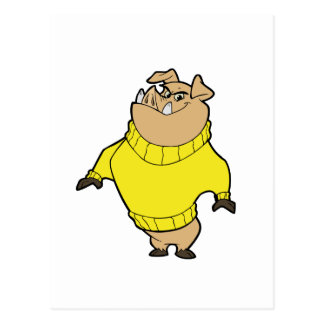 Mascota - amarillo del cerdo tarjetas postales