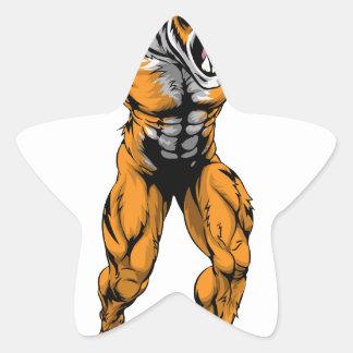 Mascota asustadiza de los deportes del tigre calcomanias forma de estrella