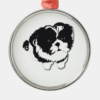 Mascota blanco negro del perro de Shih Tzu Adorno Navideño Redondo De Metal