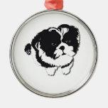 Mascota blanco negro del perro de Shih Tzu Ornamento De Navidad