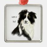 Mascota conocido de encargo del perro del border c adorno de navidad