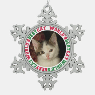Mascota de encargo del navidad de la foto del adorno de peltre en forma de copo de nieve