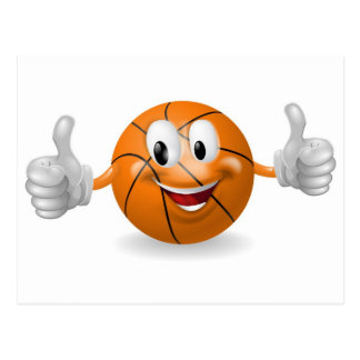 Mascota de la bola de la cesta postales