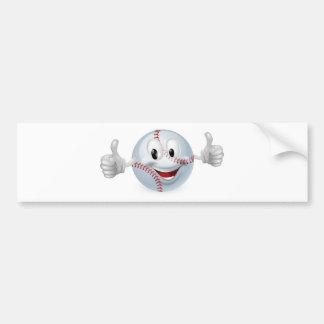 Mascota de la bola del béisbol etiqueta de parachoque