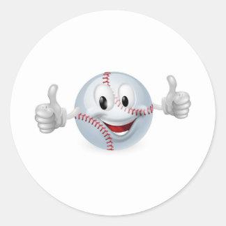 Mascota de la bola del béisbol pegatina redonda