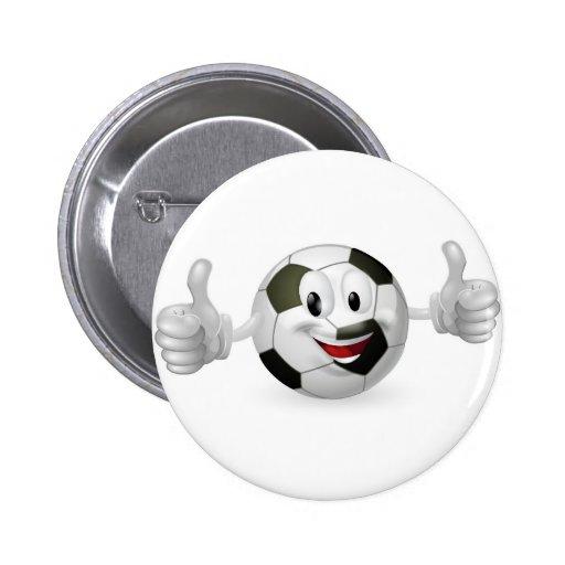 Mascota de la bola del fútbol pins