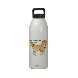 Mascota de la búsqueda del ejemplo del perro de botellas de agua reutilizables