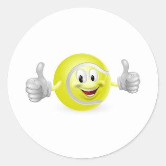 Mascota de la pelota de tenis pegatinas redondas