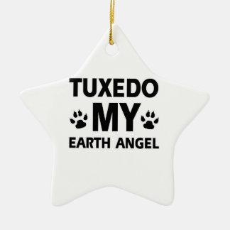 Mascota de la tierra del smoking adorno navideño de cerámica en forma de estrella
