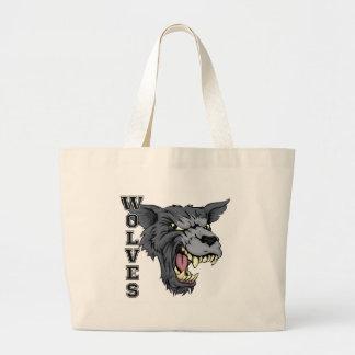 Mascota de los deportes de los lobos bolsa tela grande