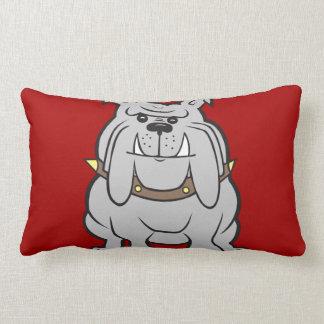 Mascota de los dogos en los regalos rojos del aman almohada