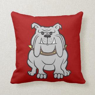 Mascota de los dogos en los regalos rojos del aman almohadas